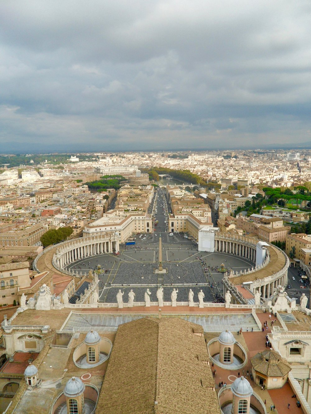 The view from the top of the Dome of St Peter's - worth the climb - and overlooking Castel St Angelo on the left at the end of the promenade