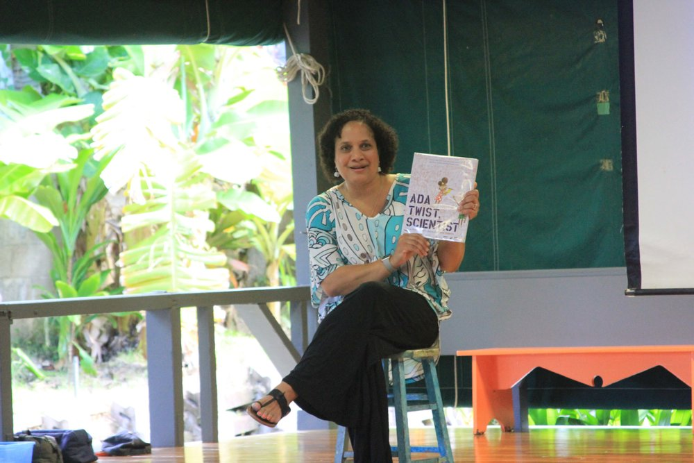 "At our first school assembly of the 2017-2018 school year, Mrs. G-W asked the children if they knew what they wanted to be when they grew up and why.  Some answered, ""Singer, Dancer, Author!"" Mrs. G-W expressed how wonderful it is to have these dreams and that learning at Hanahau'oli School will help them to acquire the values and skills to become what ever they wish to be. She read Ada Twist, Scientist by Andrea Beaty a story about a little girl who is curious about the world around her and how she will learn to figure things out."