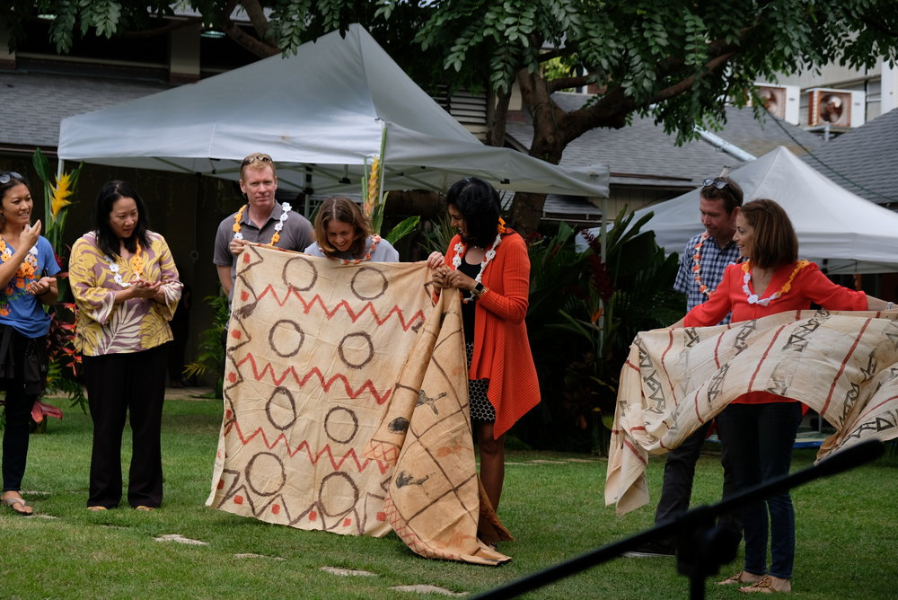 Alumna, Possie Dudgeon '80 Badham, Jojo Watumull '75, and Michelle Loden '86 Slentz shared their kapa they made as students at Hanahauʻoli.