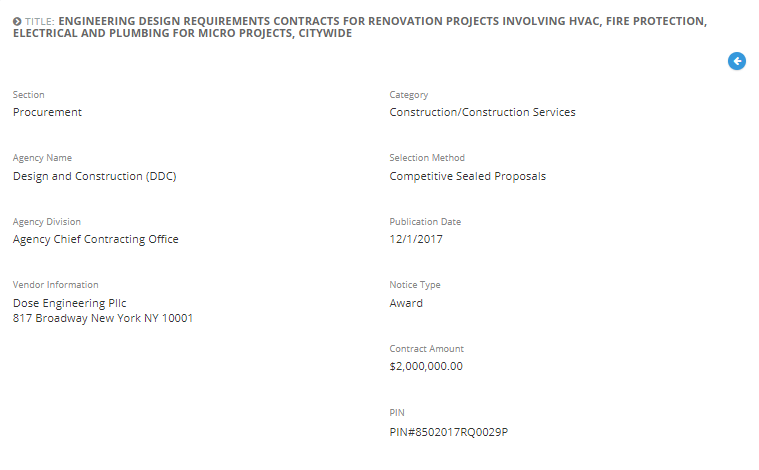Dose Engineering PLLC awarded with the  Engineering Design Requirements Contracts for Renovation Projects.