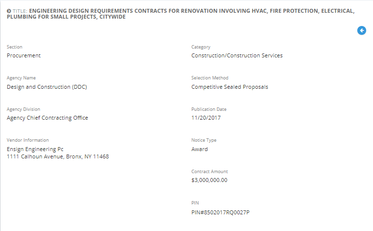 Ensign Engineering, P.C. awarded with the  Engineering Design Requirements Contracts for Renovation Projects.