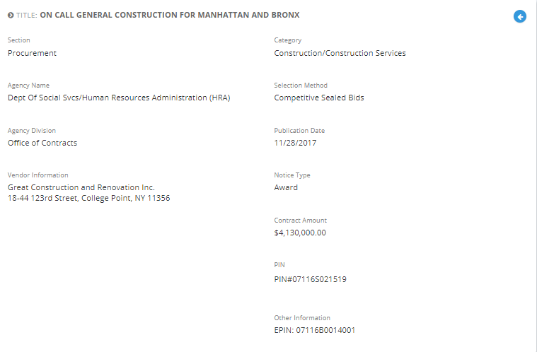 Great Construction and Renovation Inc. was awarded with the  On Call General Construction for Manhattan and Bronx.