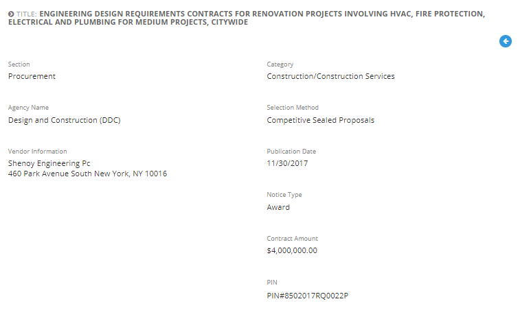 Shenoy Engineering, P.C. was awarded with the Engineering Design Requirements Contracts for Renovation Projects Involving HVAC, Fire Protection, Electrical and Plumbing for Medium Projects, Citywide.
