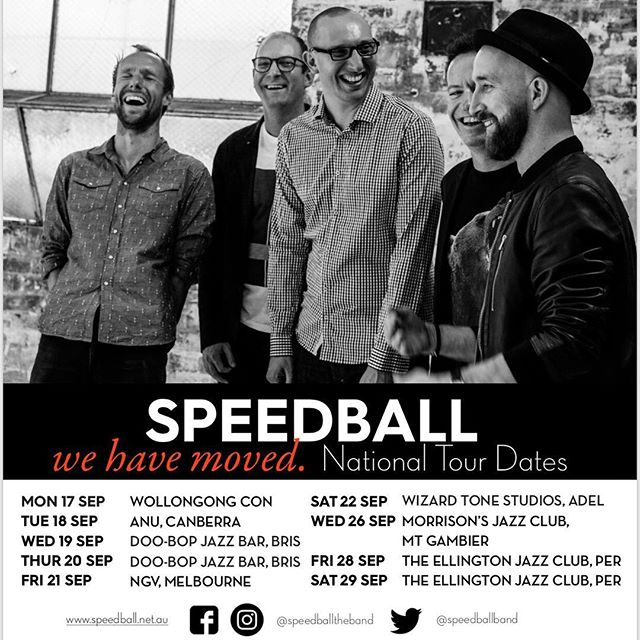 Hey everybody, here are the dates for our upcoming tour! Hope to see you at one of our shows. Keep an eye on our Facebook page for more details. #speedballtheband #wehavemoved #jazz #melbourne #adelaide #wollongong #brisbane #perth #mountgambier Photo: @hayleymiro