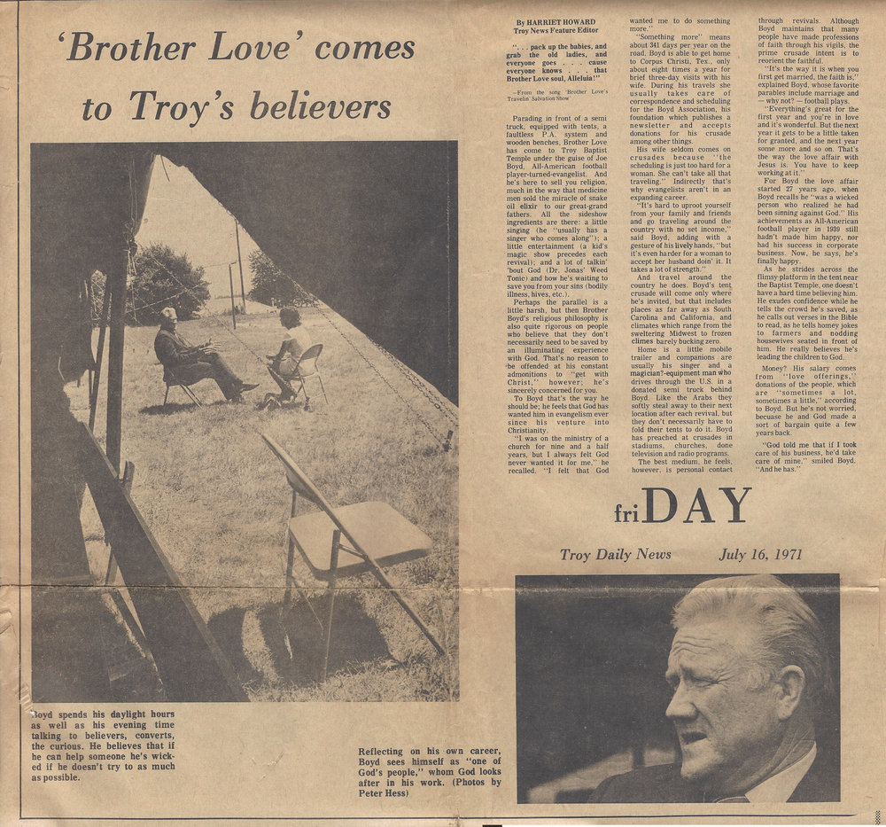This article is from the Troy Daily News, Troy, Ohio, Friday, July 16, 1971. I met Dr. Boyd that week.