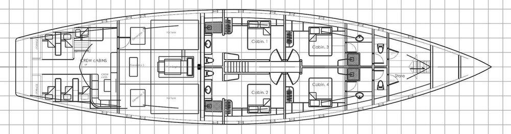 lower deck floor plan cabin cabines Ocean Pure Indonesia