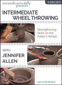 Intermediate Wheel Throwing - This video will help bolster your wheel skills. It covers various lid making techniques, throwing off the hump, creating oval baker forms, throwing large pitchers using either one piece or two stacked pieces, etc.