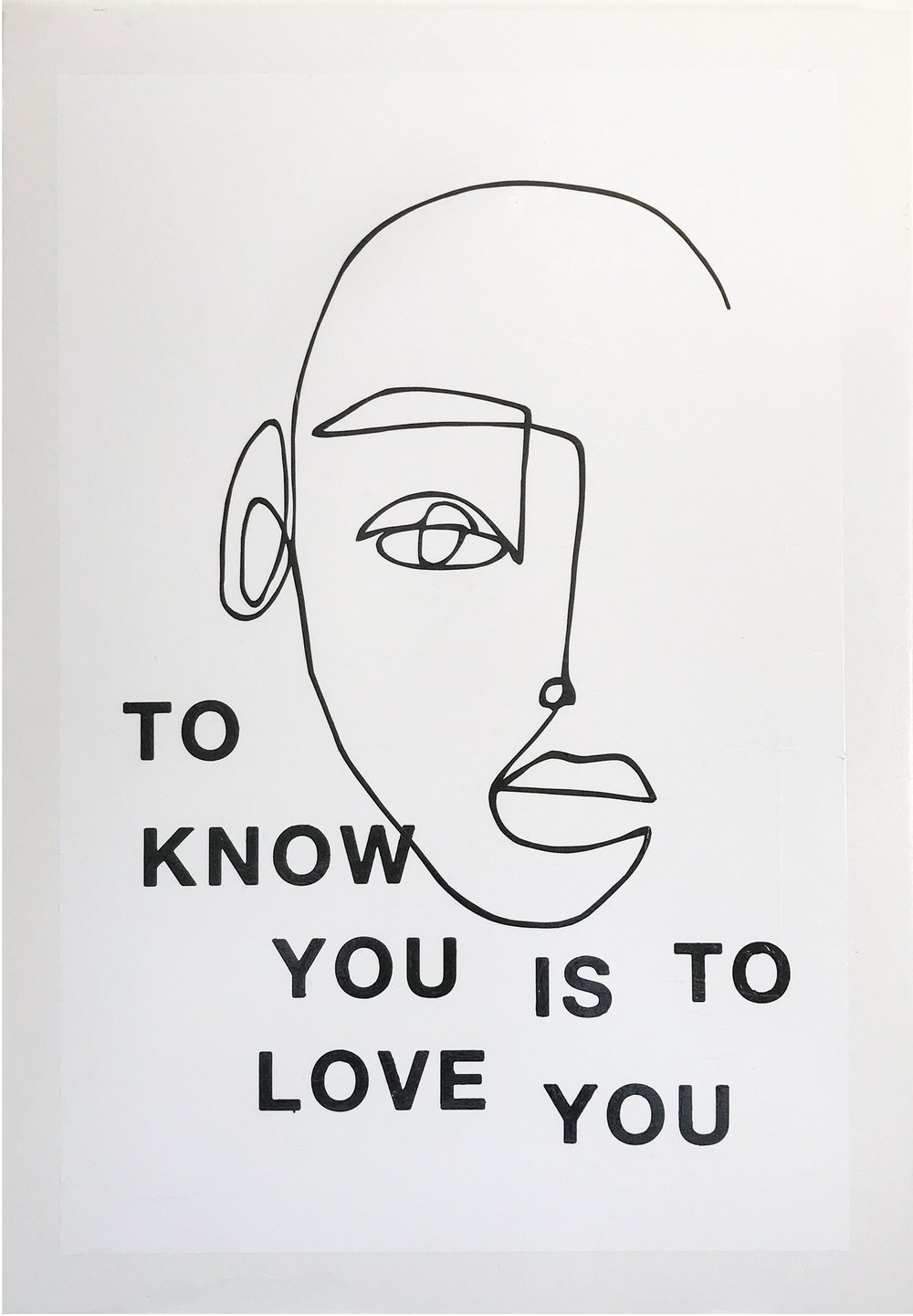 know YOU / LOVE YOU, 2018  acrylic x paper on wood  28x40 inches /  c/o mutti art projects