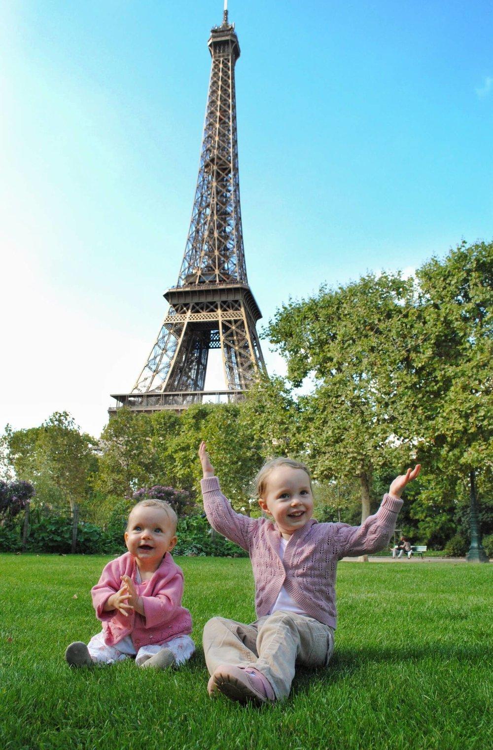Girls at Eiffel Tower.JPG