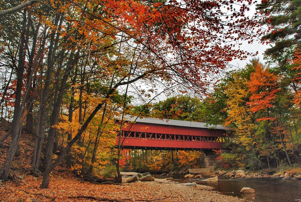 This covered bridge spans the Swift River in Conway, NH, the Eastern terminus for the Kancamagus Highway
