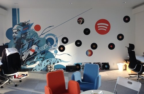 Spotify Tokyo Office - Program: Office, Bar & Art DirectionClient: Spotify JapanSize: 120 sq. mCompleted: July 2015Artist: Dragon 46