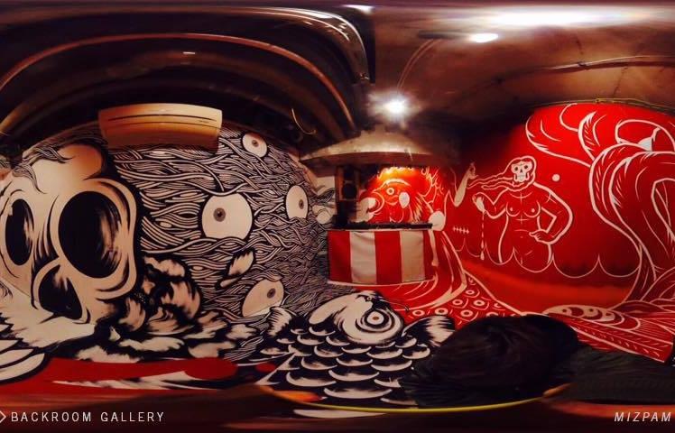 Backroom Gallery - Client/Partner: BnA HOTEL KoenjiDate: OngoingDescription: BnA HOTEL Koenjiの地下ギャラリー。360度のインスタレーションや音楽の配信等、高円寺のクリエイティブコミュニティーの発信の場として機能。