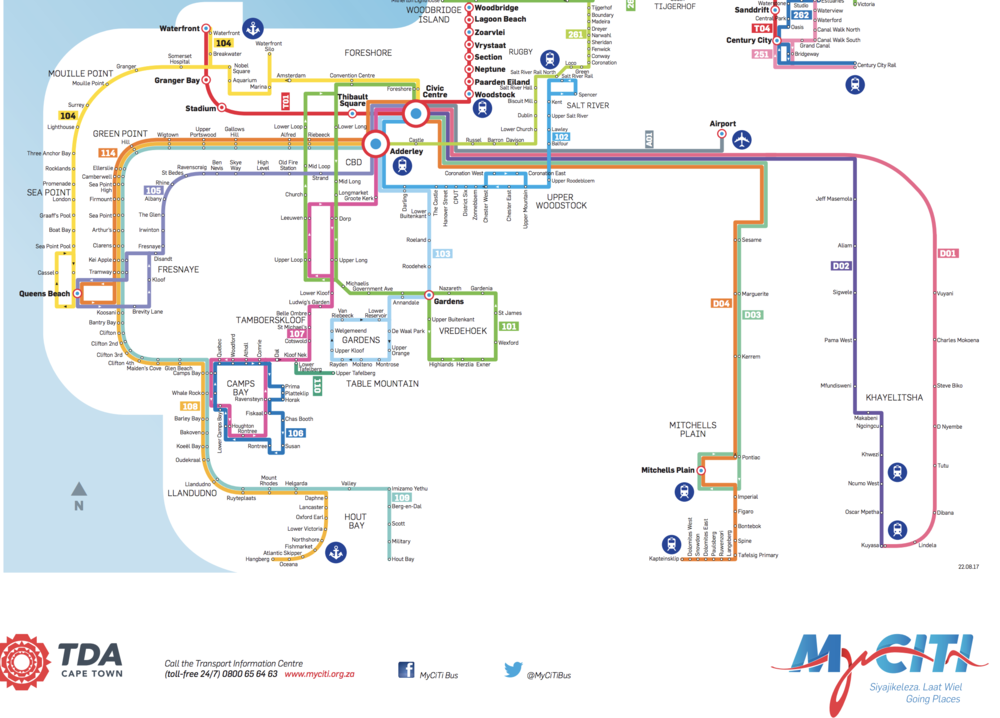 A section of Cape Town's MyCiti bus network