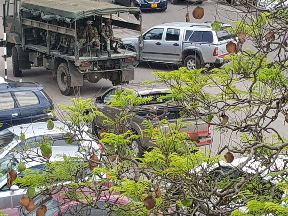 Pictures believed to be of the military heading to capital, Harare