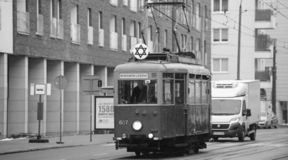 Tramwaj z gwiazdą Dawida - 70. rocznica Holocaustu, Warszawa, 2015