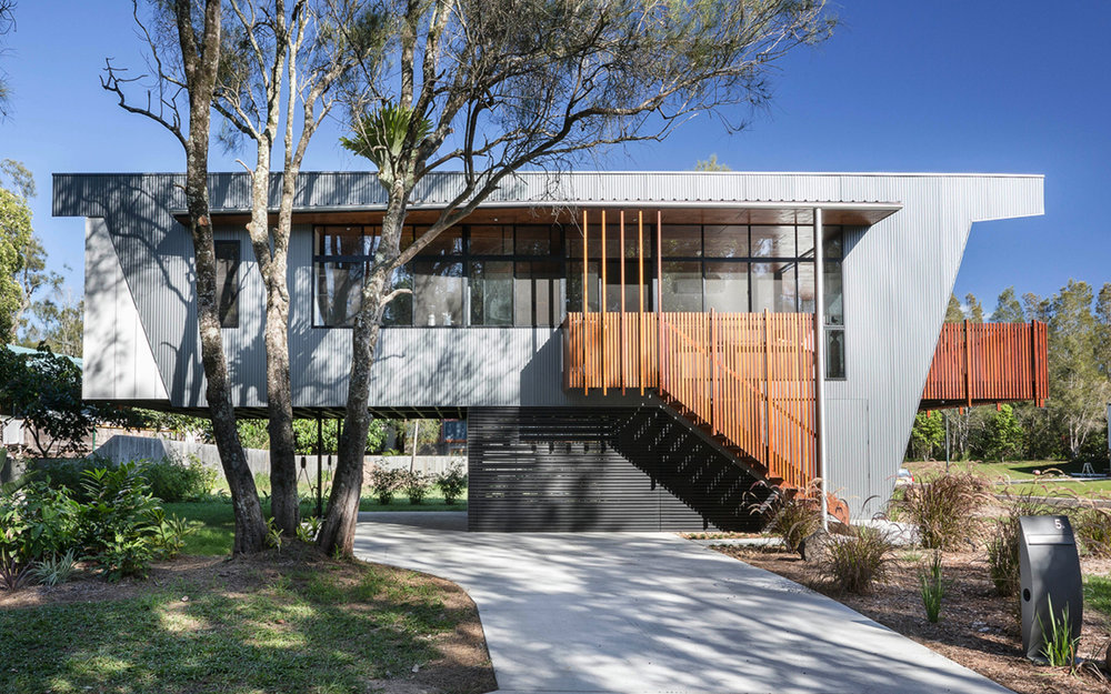 Eastern Facade Northern Rivers Beach House Byron Bay   Colorbond cladding