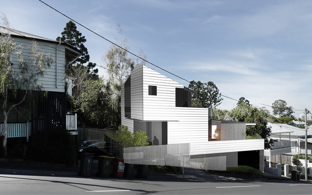 the street facade of The White Gardenhouses is stepped to follow the slope of the land