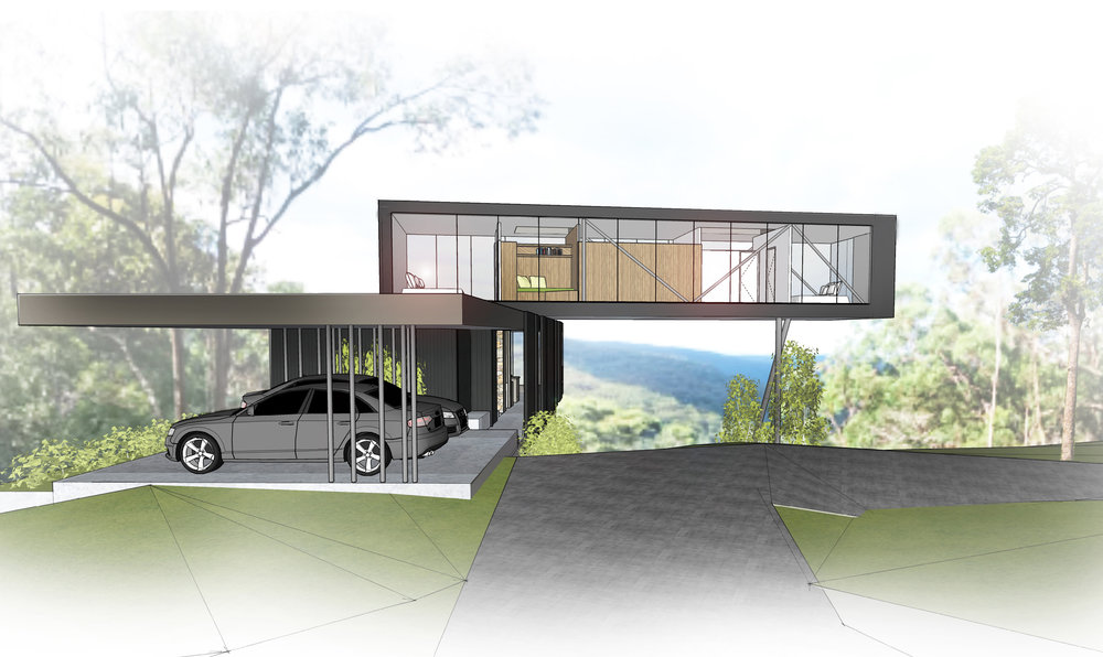 The house hovers over a cliff escarpment which frames the views towards the distant ocean.