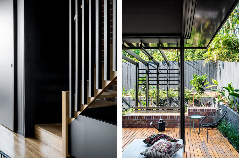 Living spaces extend into the landscape through the use of full height sliding doors, which genuinely connect the inside and outside.