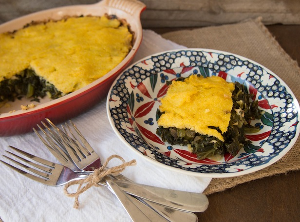 Vegetarian Spinach Feta and Polenta Pie