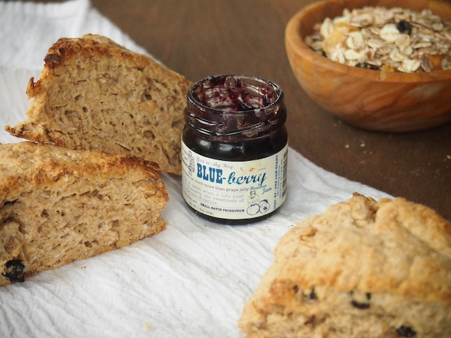 Whole Grain Scones with Blueberry Jam