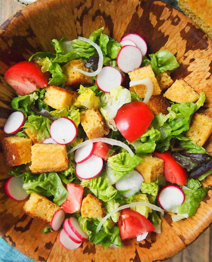 Southern salad with cornbread croutons, heirloom tomatoes, Vidalia onion and buttermilk herb dressing