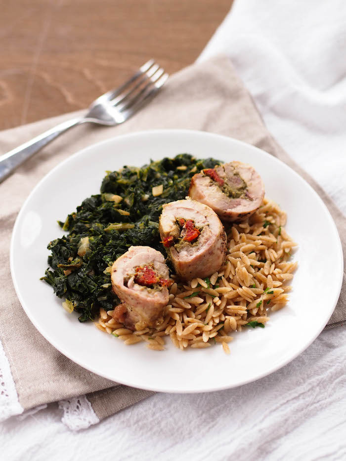 Easy and elegant pesto and sun dried tomato chicken roulades, made with only four ingredients!