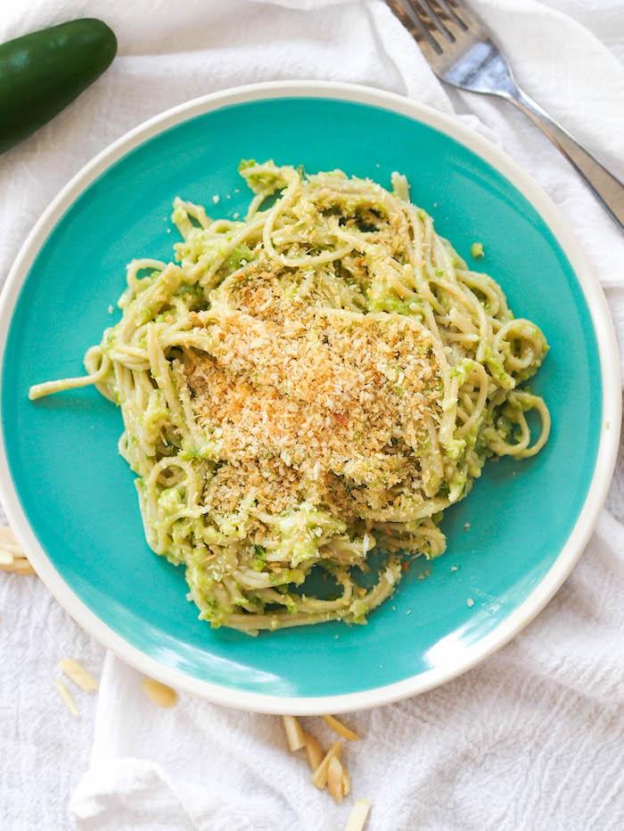 Spicy jalapeno and serrano pesto pasta has a kick!