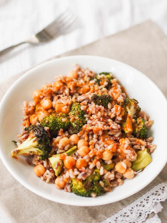 A simple brown rice, roasted broccoli and chickpea bowl with a probiotic packed mustard-soy dressing!