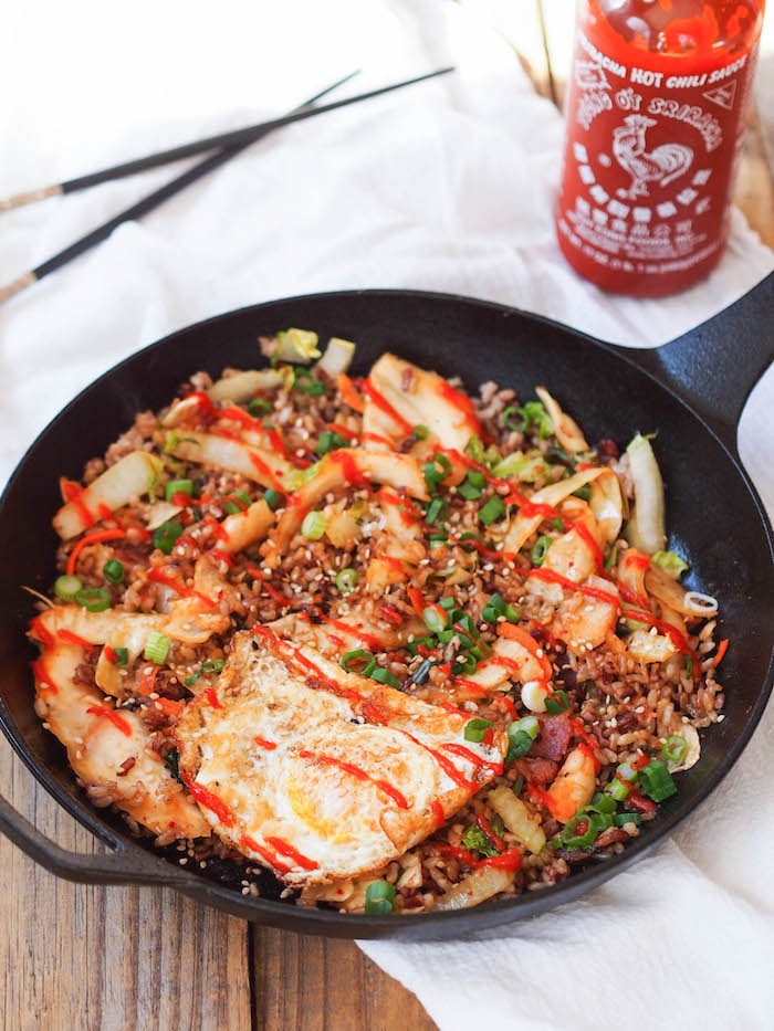 Kimchi and Bacon Fried Brown Rice