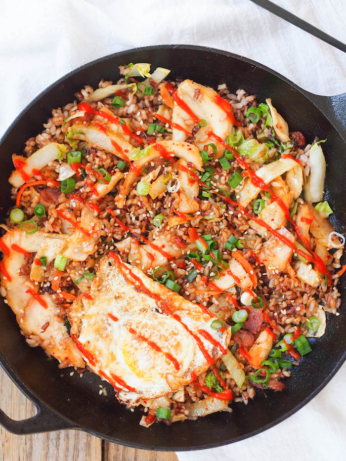Korean Kimchi Fried Brown Rice with Bacon