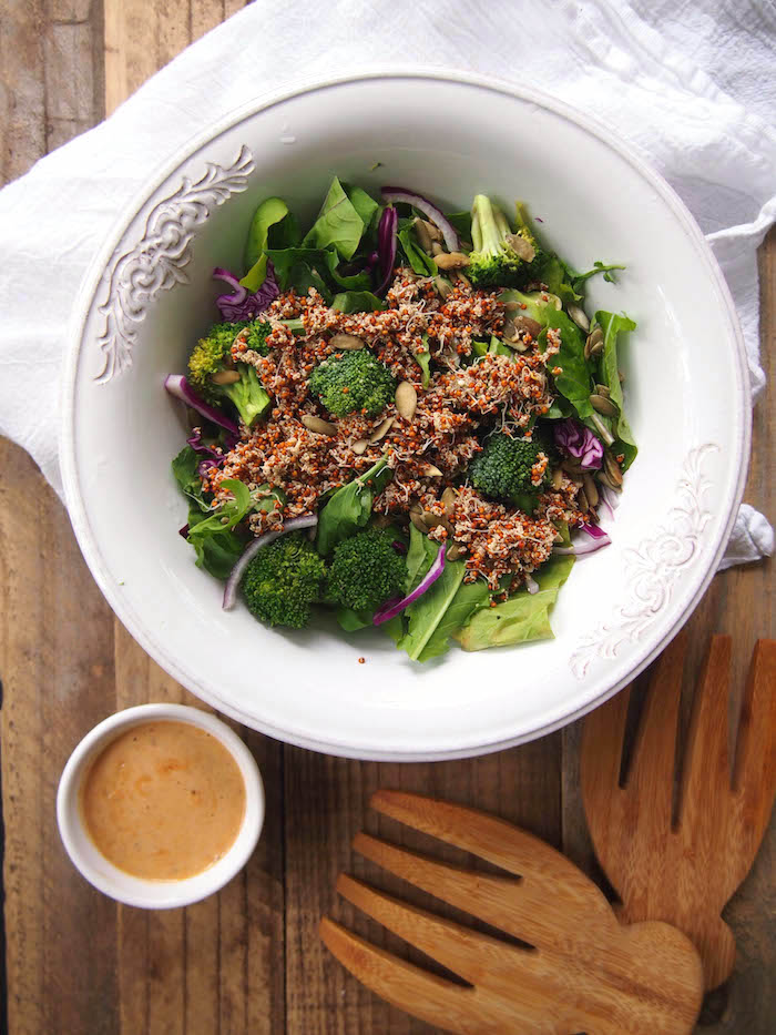 Hippie Salad with Sprouted Grains and Tahini Dressing
