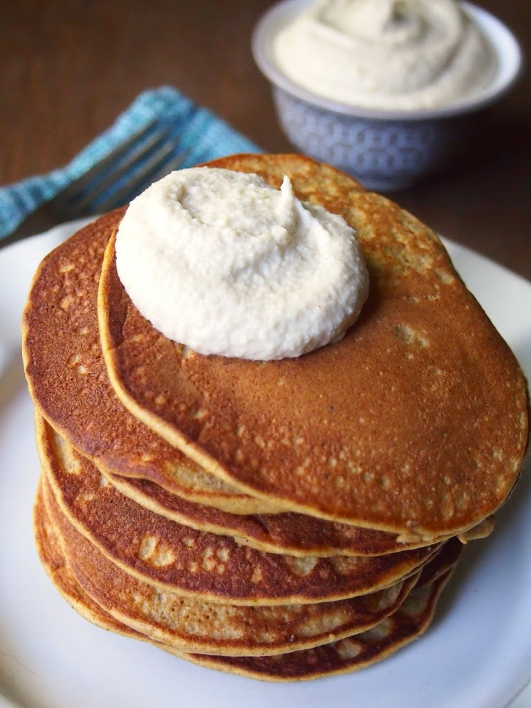 paleo pumpkin pancakes maple cashew cream