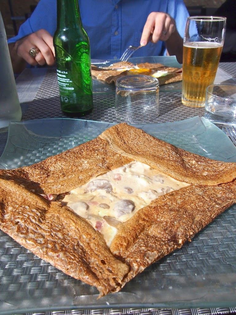 Buckwheat galette crepe with mushrooms bacon and cream