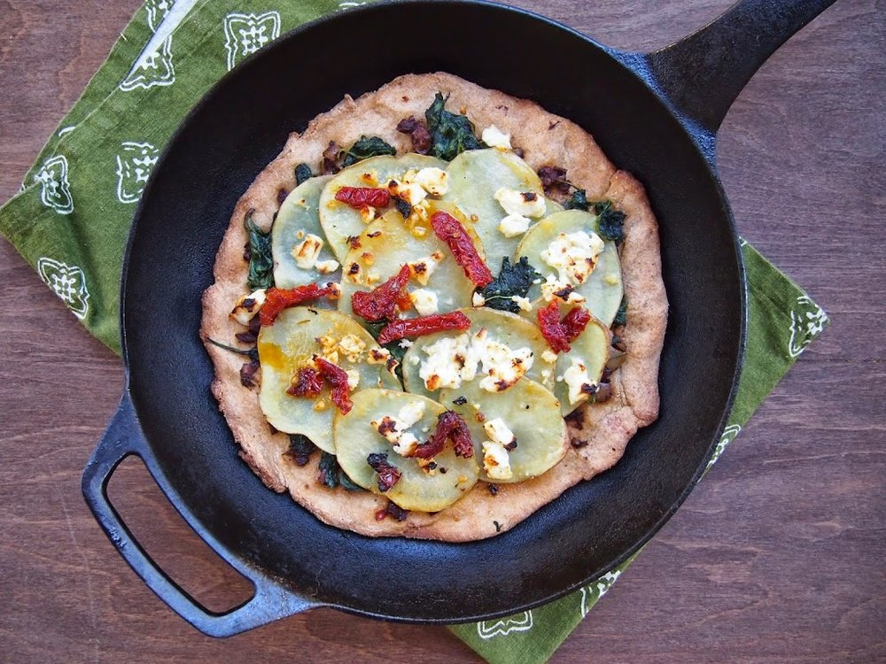 Potato Spinach and Feta Skillet Pizza