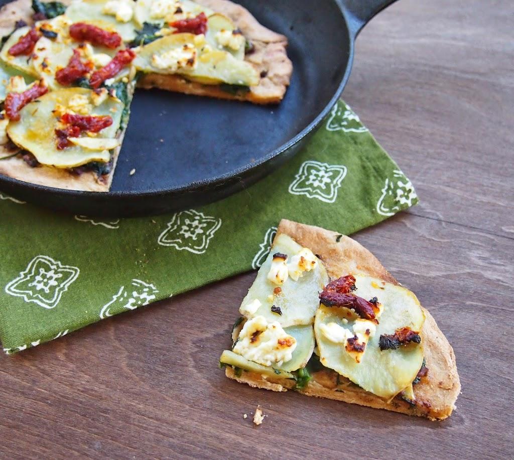 Whole grain pizza with spinach feta potato