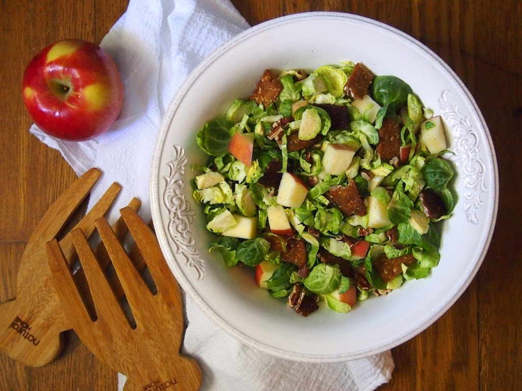 Ambrosia Apple, Brussels Sprout and Tempeh Bacon Salad