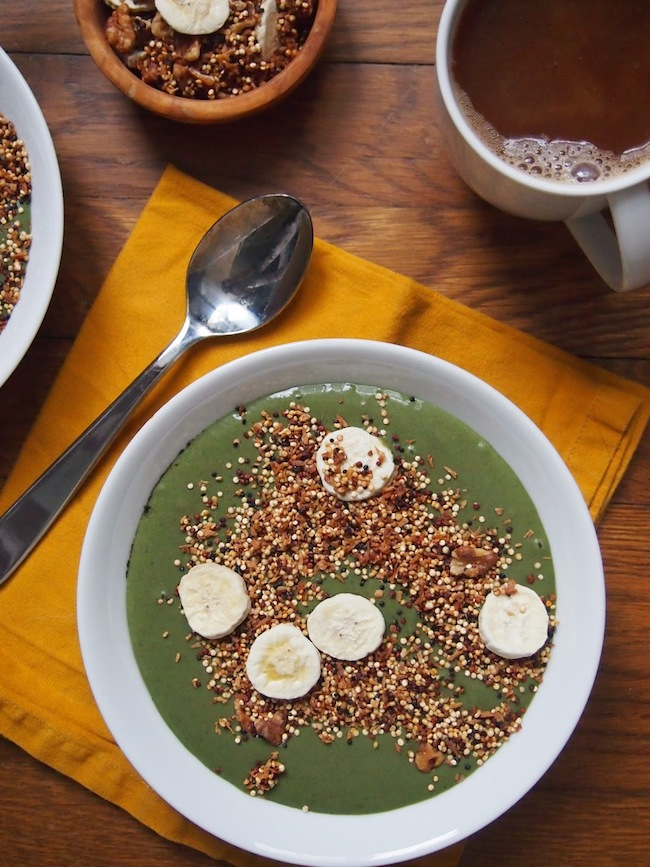 Strawberry Banana Green Smoothie Bowl