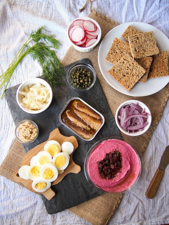 Smorrebrod with Sardines, Eggs and Sauerkraut