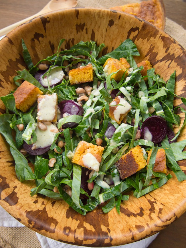Collard Green Salad with Beets and Cornbread Croutons
