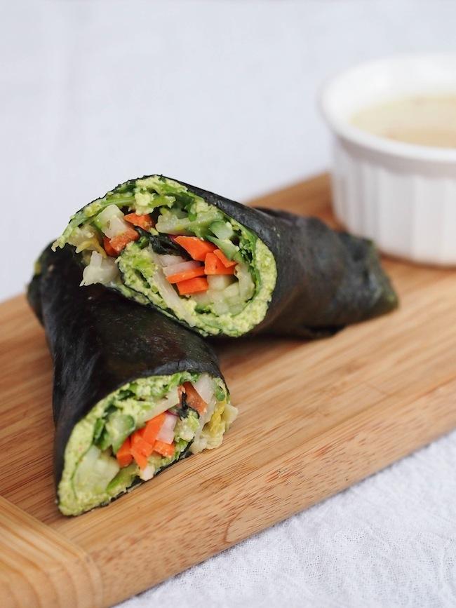 Edamame Nori Rolls with Tahini Dipping Sauce