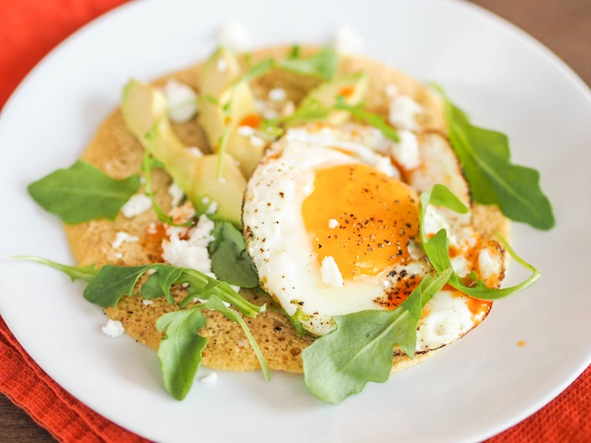 Chickpea Pancake with Avocado, Fried Egg and Chili Oil