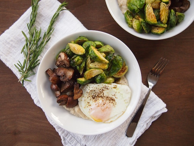 Mashed White Beans with Roasted Brussels Sprouts and Mushrooms