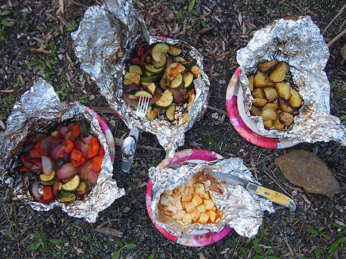 Campfire potatoes, veggies and halloumi