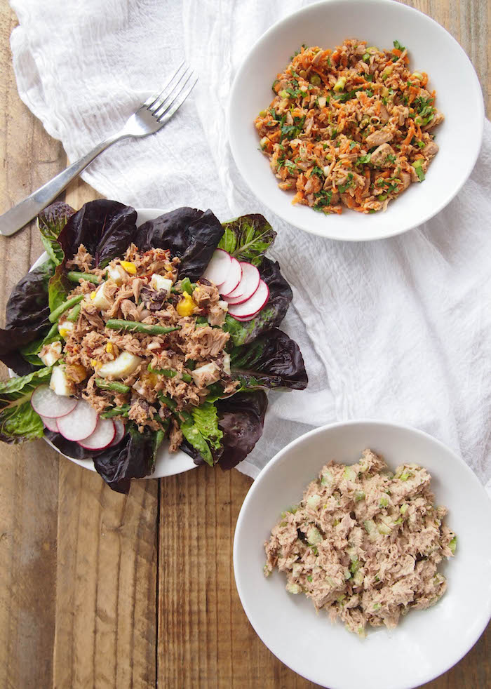 Mayoless Tuna Salad, Three Ways