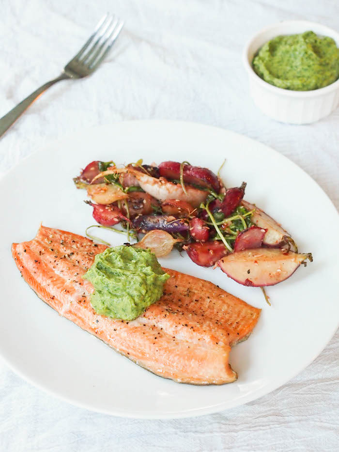 Cedar Grilled Wild Trout with Asian Avocado Cream