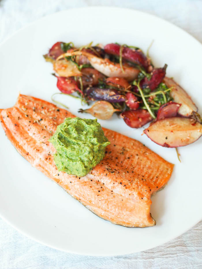 Grilled Trout with Ginger, Lime and Cilantro Guacamole