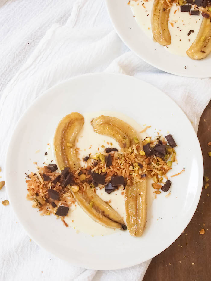 Roasted Bananas with Coconut Cream, Dark Chocolate and Pistachios
