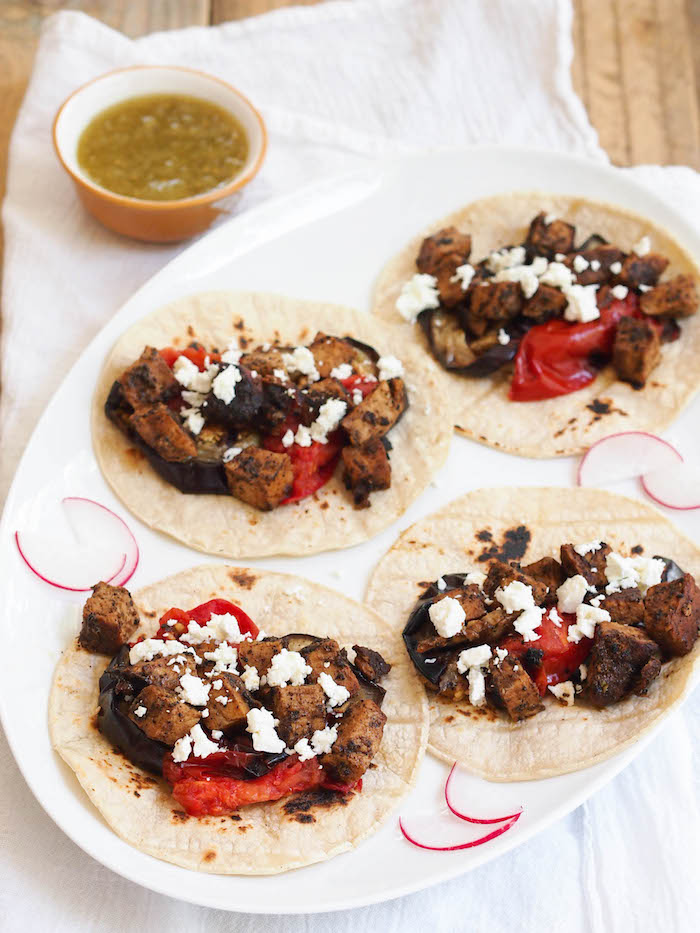 Grilled Pork Taco with Charred Eggplant and Tomatoes