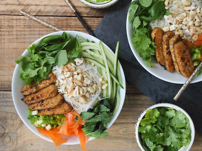 Vietnamese Rice Noodle Salad with Seared Sesame Tempeh